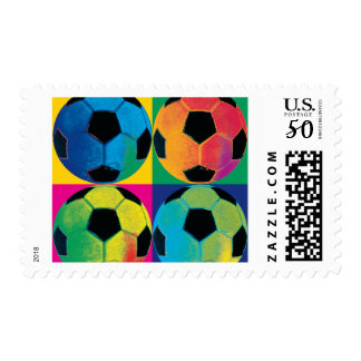 Four Soccer Balls in Different Colors Postage