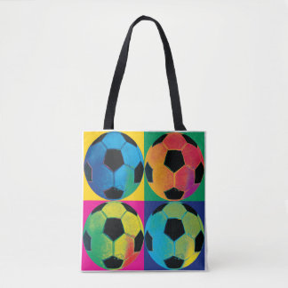 Four Soccer Balls in Different Colors Tote Bag