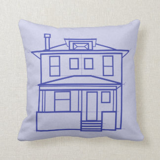 Four Square House Blueprint throw pillow