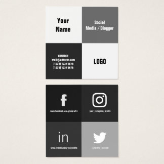Four square split modern cover square business card