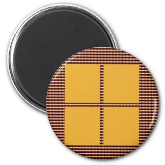 Four Squares Gold 2 Inch Round Magnet
