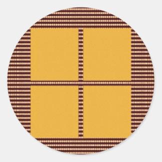 Four Squares Gold Round Sticker