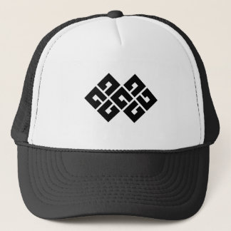 Four squares joining two trucker hat