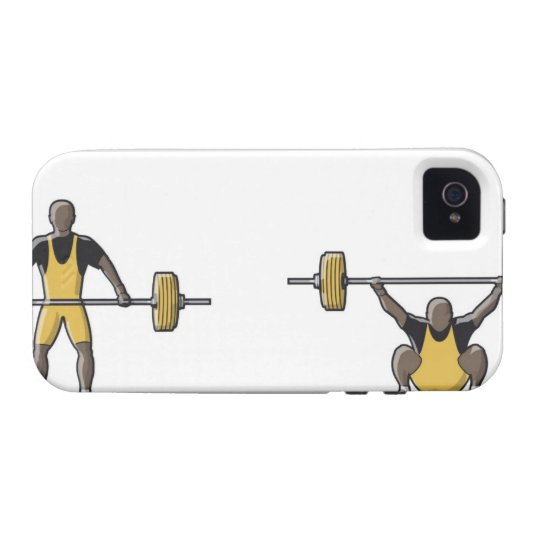 Four stages of weightlifter lifting barbell case for the iPhone 4