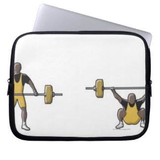 Four stages of weightlifter lifting barbell computer sleeve