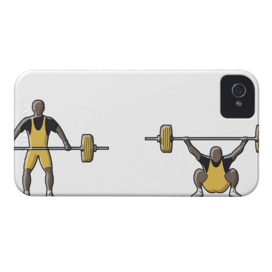 Four stages of weightlifter lifting barbell iPhone 4 case