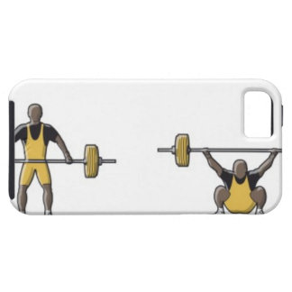 Four stages of weightlifter lifting barbell iPhone SE/5/5s case