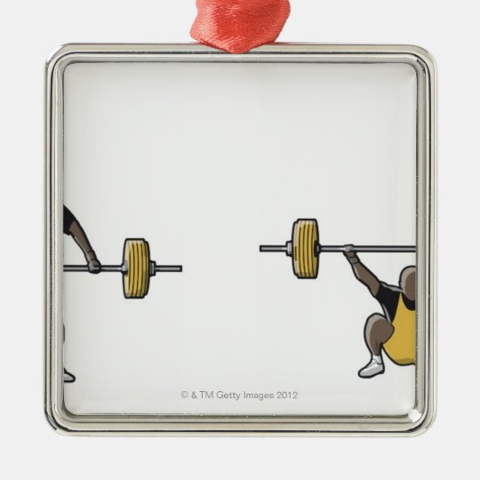 Four stages of weightlifter lifting barbell metal ornament