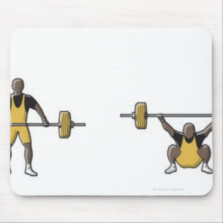 Four stages of weightlifter lifting barbell mouse pad