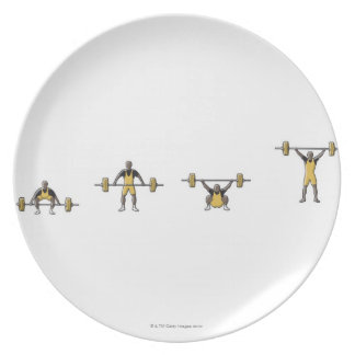 Four stages of weightlifter lifting barbell plates