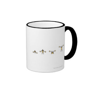 Four stages of weightlifter lifting barbell ringer mug