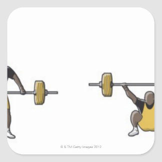 Four stages of weightlifter lifting barbell square sticker