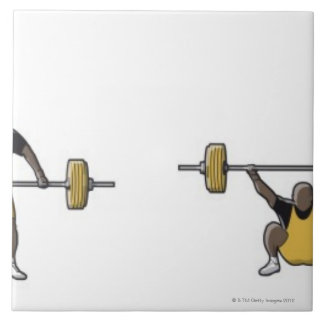 Four stages of weightlifter lifting barbell tile