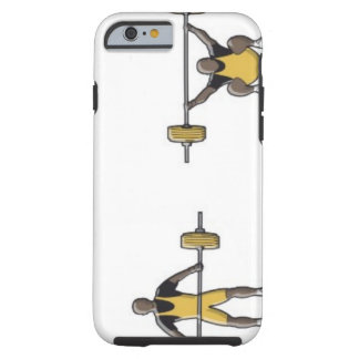 Four stages of weightlifter lifting barbell tough iPhone 6 case