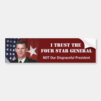 Four Star General Car Bumper Sticker