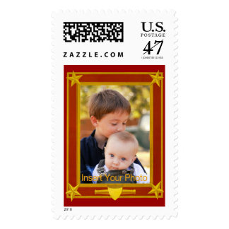 Four-Star Gold and Maroon Frame - Insert Photo! Postage