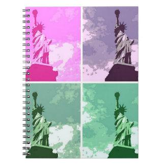 Four Statue of Liberty Pop Art Notebook