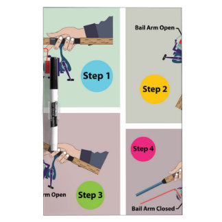 Four Steps to cast spinning rod with spinning reel Dry-Erase Board