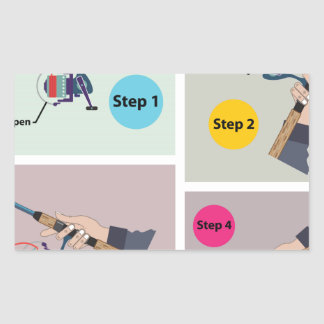 Four Steps to cast spinning rod with spinning reel Rectangular Sticker