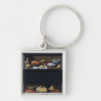 Four Still Lives of Food and Fruit Silver-Colored Square Keychain