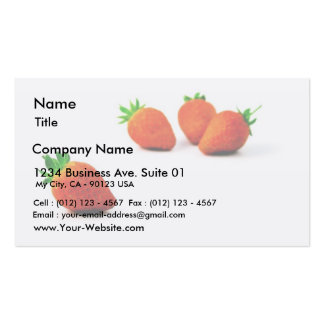 Four Strawberries On White Background Business Cards