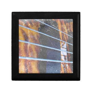Four string bass bridge close up photo grunge keepsake box