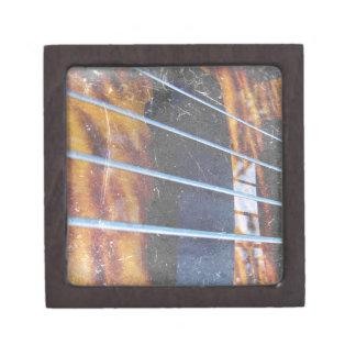 Four string bass bridge close up photo grunge premium keepsake box