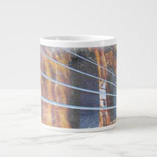 Four string bass bridge close up photo grunge 20 oz large ceramic coffee mug