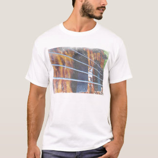 Four string bass bridge close up photo grunge T-Shirt