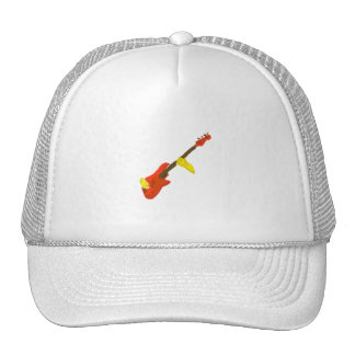 Four string bass painting played by hands trucker hat