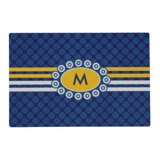 Four Stripes Monogram Blue and Gold ID207 Placemat