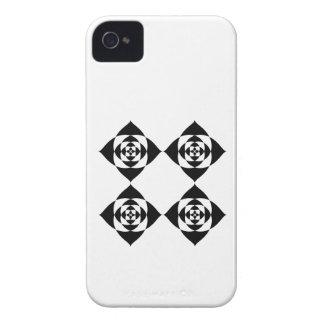 Four Stylish Black Flowers. On White. iPhone 4 Cases