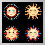 Four Sun Faces Poster