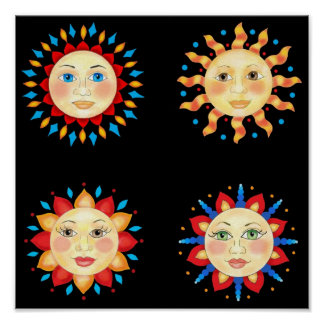 Four Sun Faces Poster