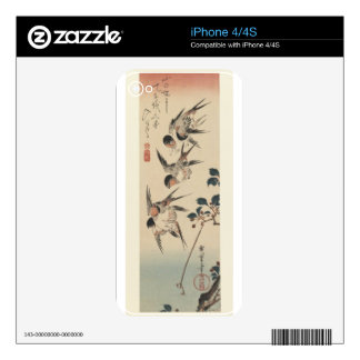 Four Swallows by Hiroshige Decals For The iPhone 4