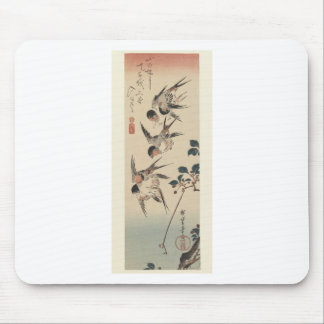 Four Swallows by Hiroshige Mouse Pad