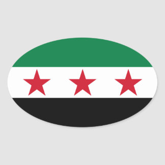 FOUR Syria Flag Oval Sticker