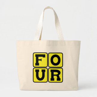 FOUR The Number Square Design Funny Age Years Old Large Tote Bag