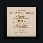 """Four Things Gift Box<br><div class=""""desc"""">This thought provoking design features a tan background with a faint tan leaf pattern. This inspirational print reads: &quot;Four Thngs You Can Never Recover - A stone after it has been thrown - Words after they have been spoken - An occasion after it has been missed - Time after it...</div>"""