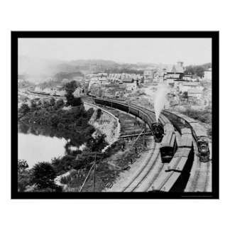 Four Trains Passing Little Falls, NY 1890 Poster