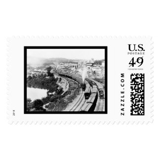 Four Trains Passing Little Falls, NY 1890 Stamp