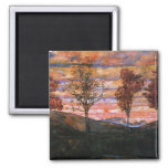Four Trees 2 Inch Square Magnet