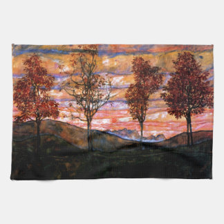 Four Trees by Egon Schiele Kitchen Towel