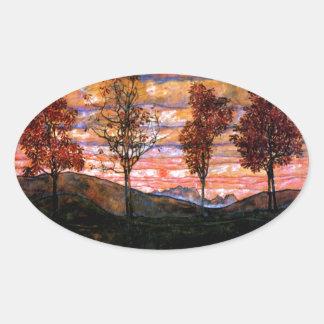 Four Trees by Egon Schiele Oval Sticker