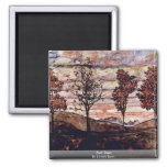 Four Trees By Schiele Egon 2 Inch Square Magnet