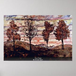 Four Trees By Schiele Egon Print