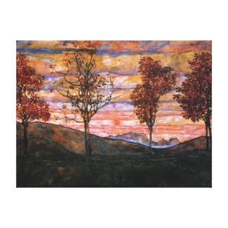 Four Trees Stretched Canvas Prints