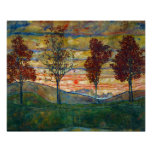 Four Trees Landscape Painting Poster