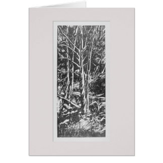 Four Trees Woodcut Greeting Card