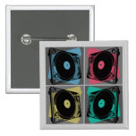 Four Turntables 2 Inch Square Button